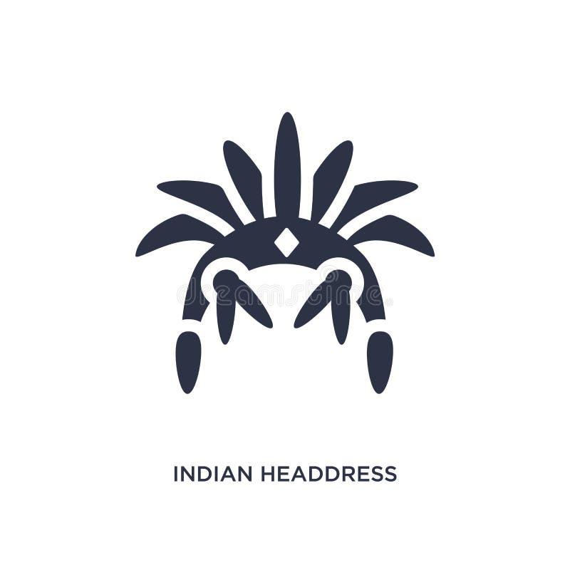 indyjska pióropusz ikona na białym tle Prosta element ilustracja od kultury pojęcia ilustracji