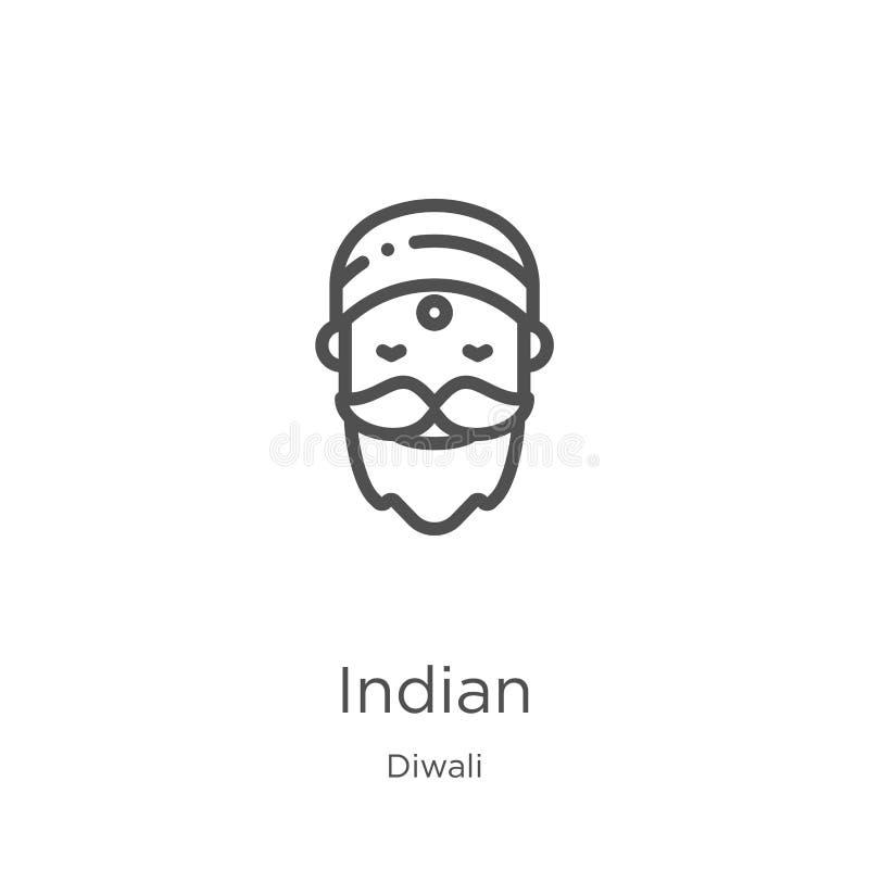 indyjski ikona wektor od diwali kolekcji Cienka kreskowa indyjska kontur ikony wektoru ilustracja Kontur, cienieje kreskową indyj ilustracji