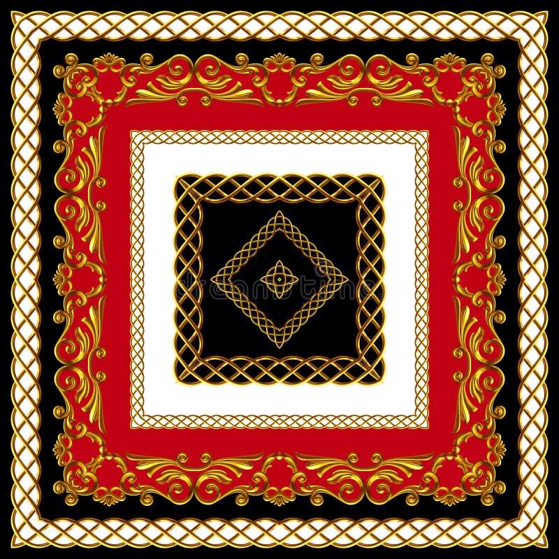 Indyjski styl Scarf Design for Silk Print Złoty barok z łańcuchami Kolory czerwieni, czerni i bieli Wzorzec gotowy do użycia w tk fotografia stock