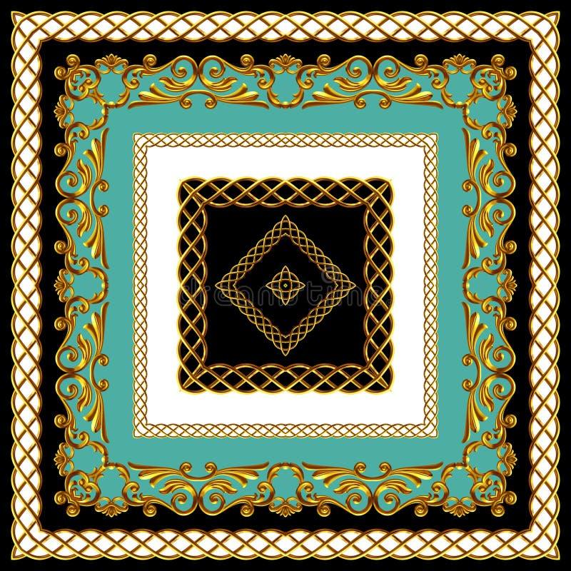 Indyjski styl Scarf Design for Silk Print Złoty barok z łańcuchami Kolory mennicy, czerni i bieli Wzorzec gotowy do użycia w tkan obraz royalty free