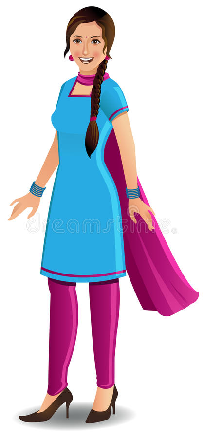 indyjskiego kameez nowożytna salwar kobieta royalty ilustracja
