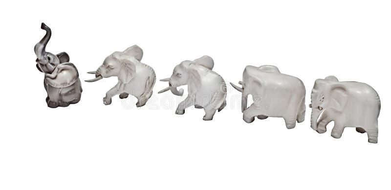 Indywidualista figurki słonie iść system zdjęcia stock