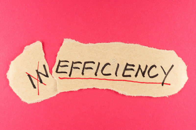 Inefficiency to efficiency. Alter Inefficiency word and changing it to efficiency stock photography