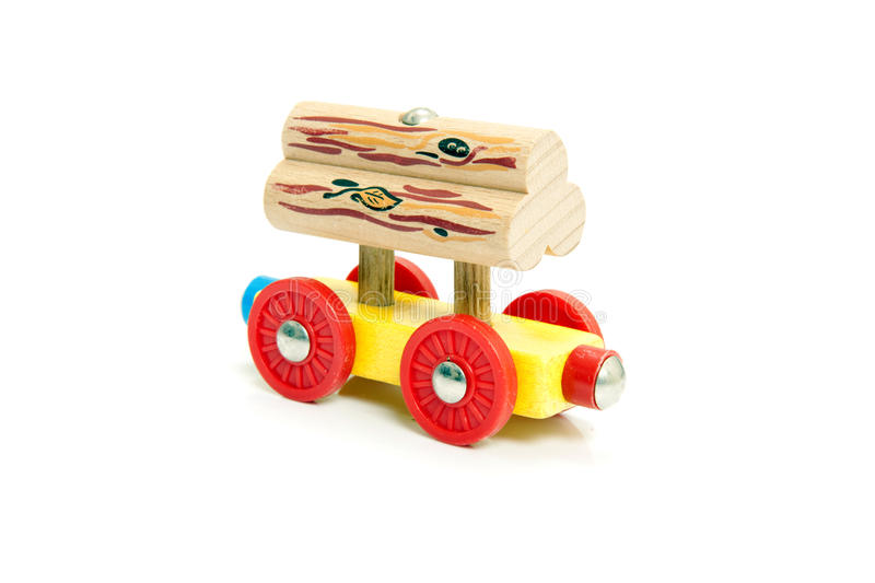 Inefficient. Conceptual image of inefficiency, represented by a toy train carriage supporting a stack of wood on two studs, which aren't intended for its load stock photo