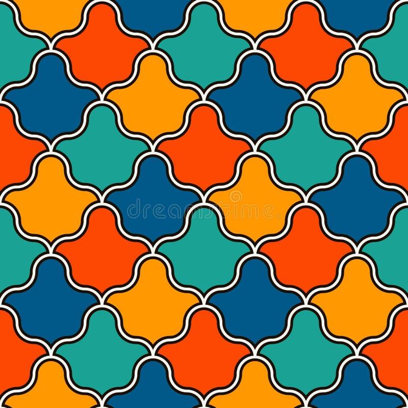 Ineinander greifenzahlen Tessellationshintergrund Wiederholte geometrische Formen Ethnische Mosaikverzierung Orientalische Hinter stock abbildung