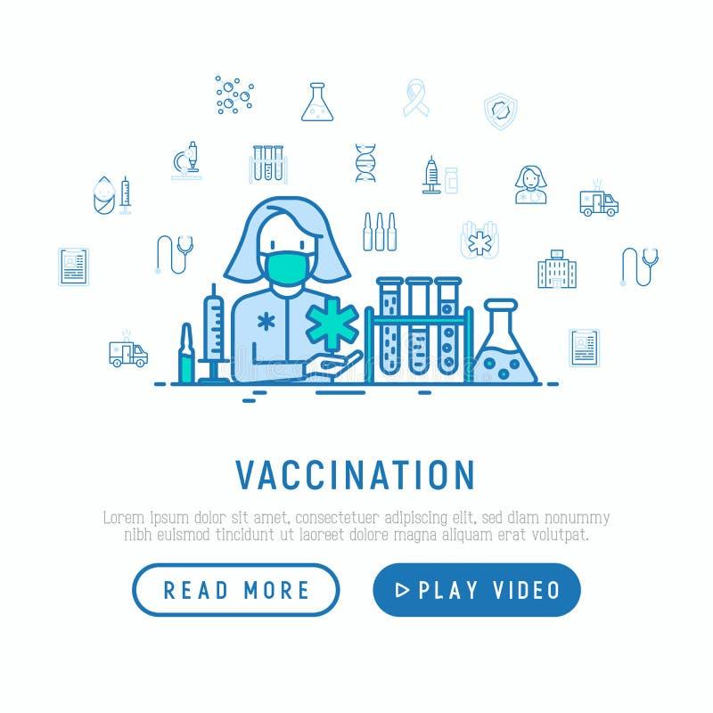 Inentingsconcept: arts met vaccin stock illustratie