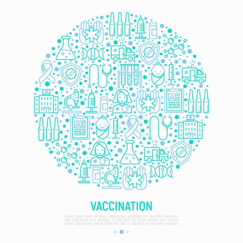 Inentingsconcept in cirkel met dunne lijnpictogrammen stock illustratie
