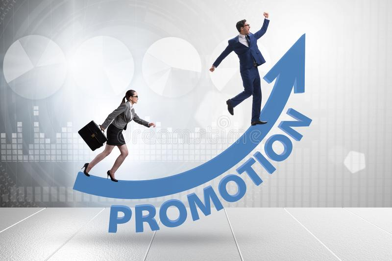 Inequal promotion concept between man and woman royalty free stock photo