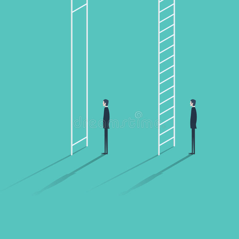 Inequality in career promotion concept. Two businessmen standing and climbing corporate ladders. royalty free illustration