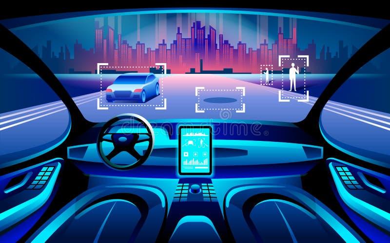 Inerior astuto dell'automobile di Autinomous Auto che guida al paesaggio della città di notte Le informazioni di manifestazioni d royalty illustrazione gratis