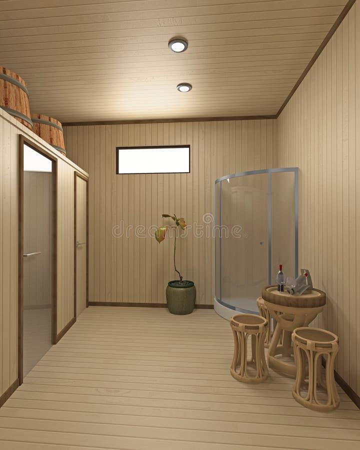 Inerior da sauna ilustração do vetor