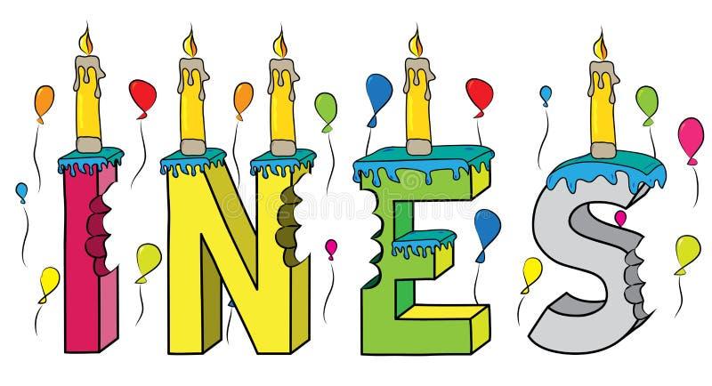 Ines θηλυκό κέικ γενεθλίων ονόματος δαγκωμένο ζωηρόχρωμο τρισδιάστατο γράφοντας με τα κεριά και τα μπαλόνια διανυσματική απεικόνιση