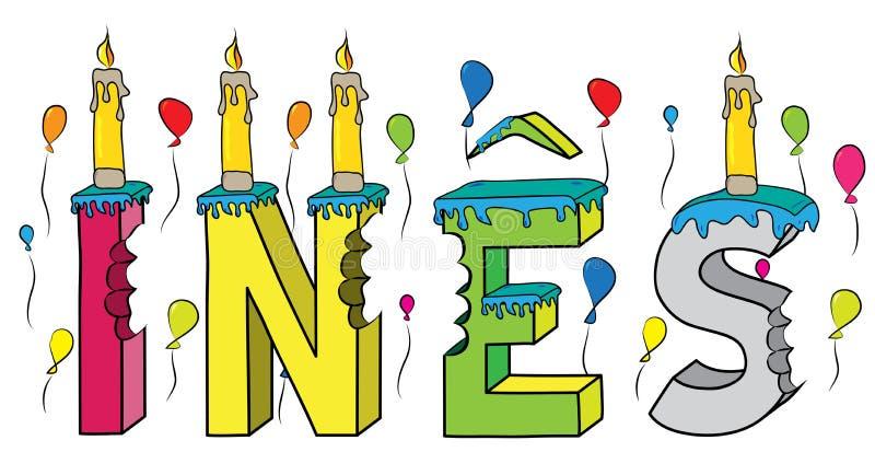 Ines θηλυκό κέικ γενεθλίων ονόματος δαγκωμένο ζωηρόχρωμο τρισδιάστατο γράφοντας με τα κεριά και τα μπαλόνια απεικόνιση αποθεμάτων