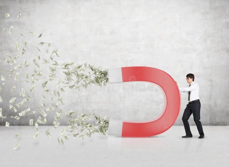 Inessman tilldrar pengar vektor illustrationer
