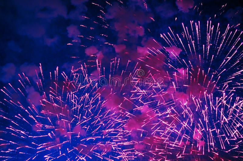 Very cheap firework over the city. royalty free stock photos