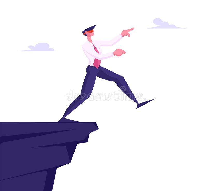 Inexperienced Weak or Foolish Businessman Take Step Blindfolded on Edge of Abyss. Crisis Management, Bankruptcy. And Dept Concept, Business Man in Dangerous stock illustration