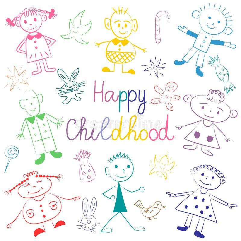 Infância feliz Crianças bonitos coloridas com brinquedos, estrelas e doces Desenhos engraçados das crianças Estilo do esboço ilustração stock