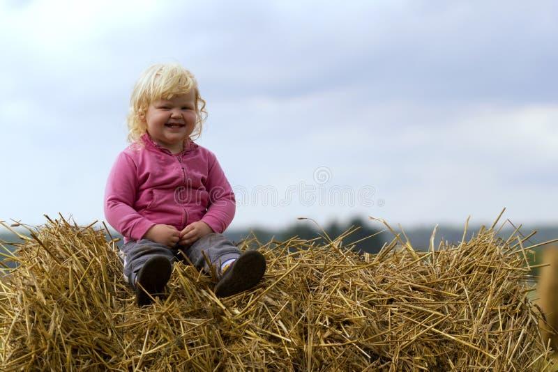 Infância saudável na harmonia com natureza - a menina feliz senta-se em um monte de feno em um campo de trigo fotos de stock royalty free