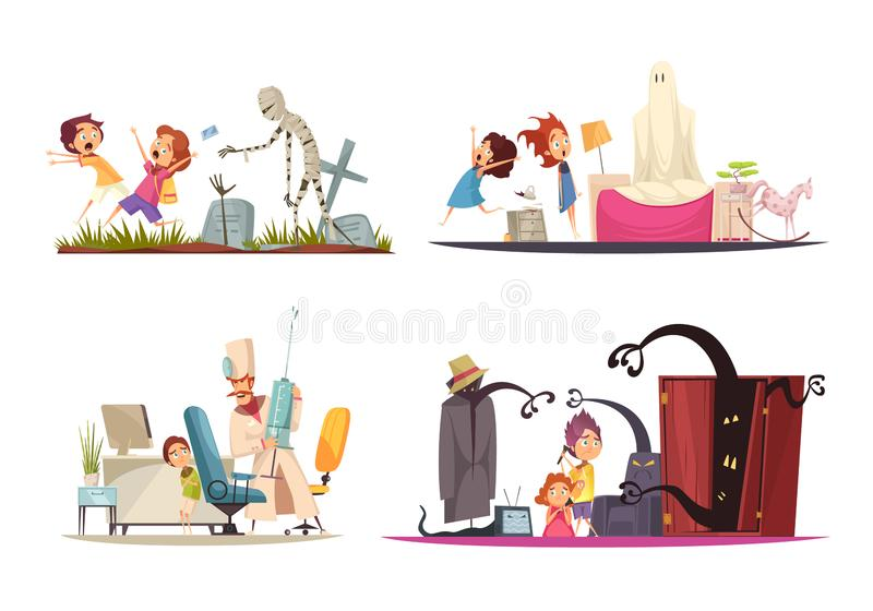 A infância teme o grupo dos ícones do conceito ilustração stock