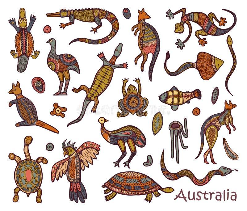 Infödd australisk stil för djurteckningar royaltyfri illustrationer