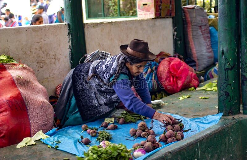 Infödd hög kvinna som sitter på jordningen och säljer grönsaker arkivfoton