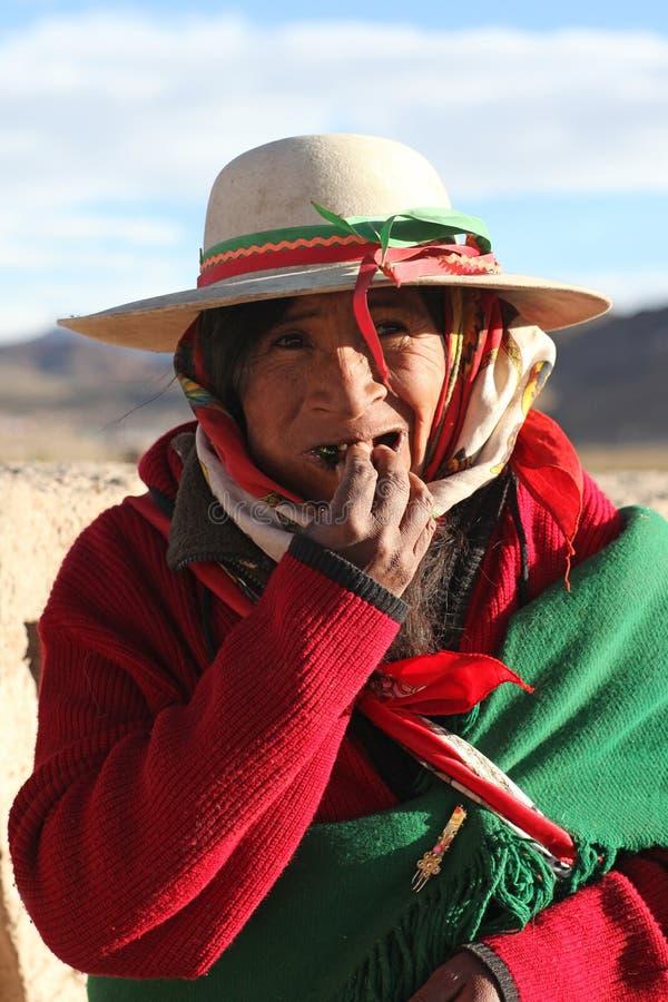 Infödd kvinna, Anderna berg royaltyfri bild