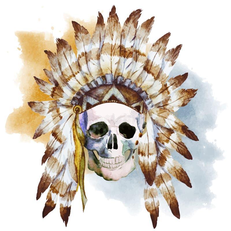 Infödd skalle royaltyfri illustrationer