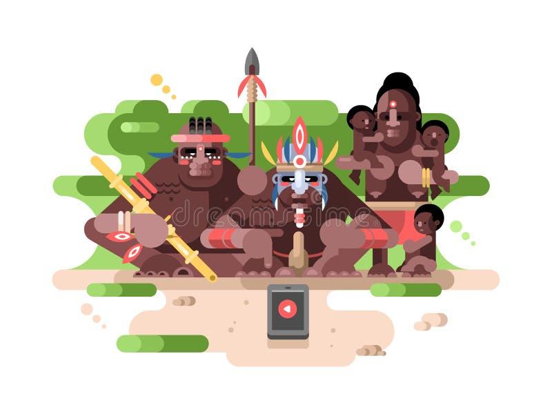 Infödd stam och en smartphone royaltyfri illustrationer