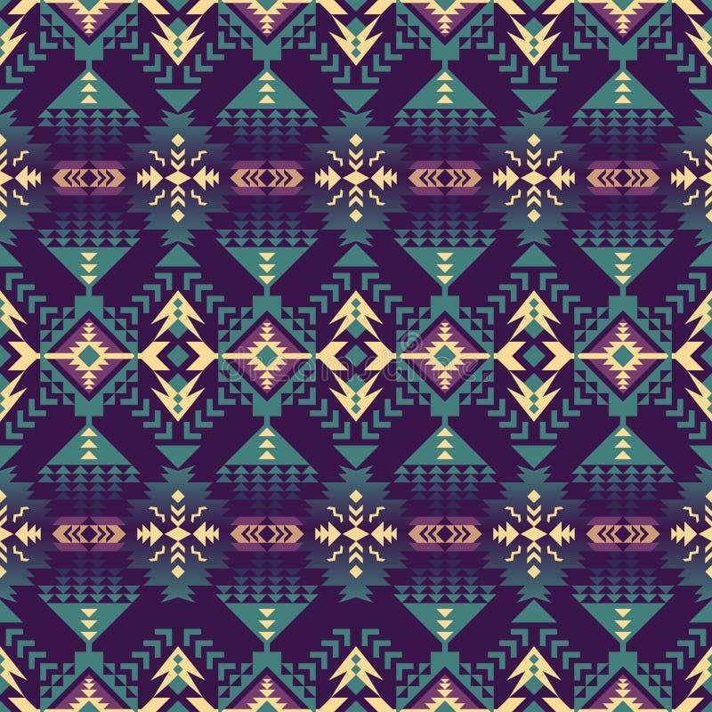 Infödd sydvästamerikan, indiskt som är aztec, sömlös modell för Navajo planlägg geometriskt royaltyfri illustrationer