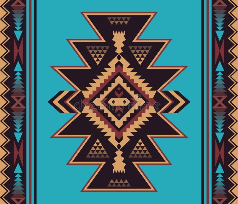 Infödd sydvästlig amerikan, indier, Aztec, sömlöst smattrande för Navajo stock illustrationer