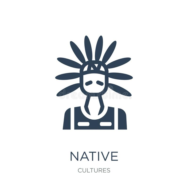 infödd symbol i moderiktig designstil infödd symbol som isoleras på vit bakgrund enkelt och modernt plant symbol för infödd vekto vektor illustrationer
