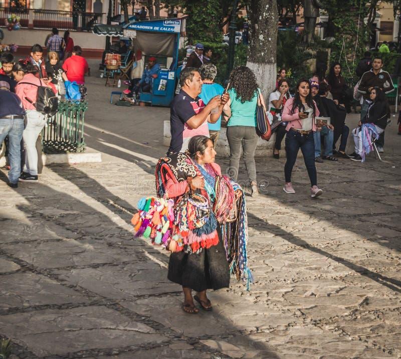Infött sälja för kvinna handcrafts i gatan av Chiapas royaltyfri foto