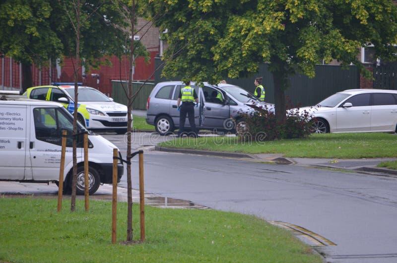 Infallande bilkrasch för polisen, RTC royaltyfri foto