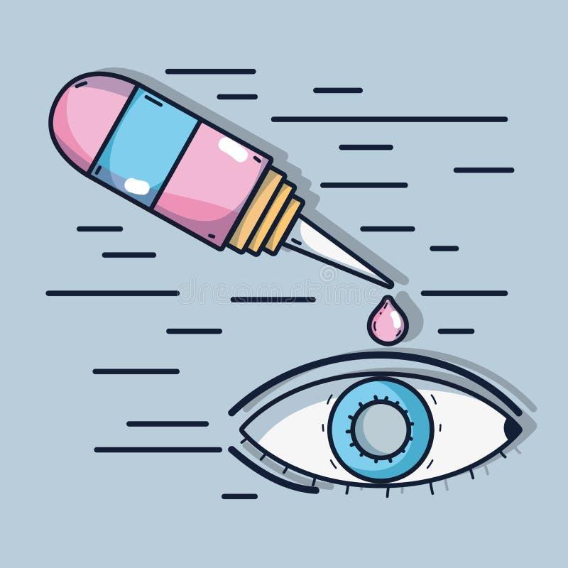Infammation de conjonctivite allergique avec le traitement médical illustration libre de droits