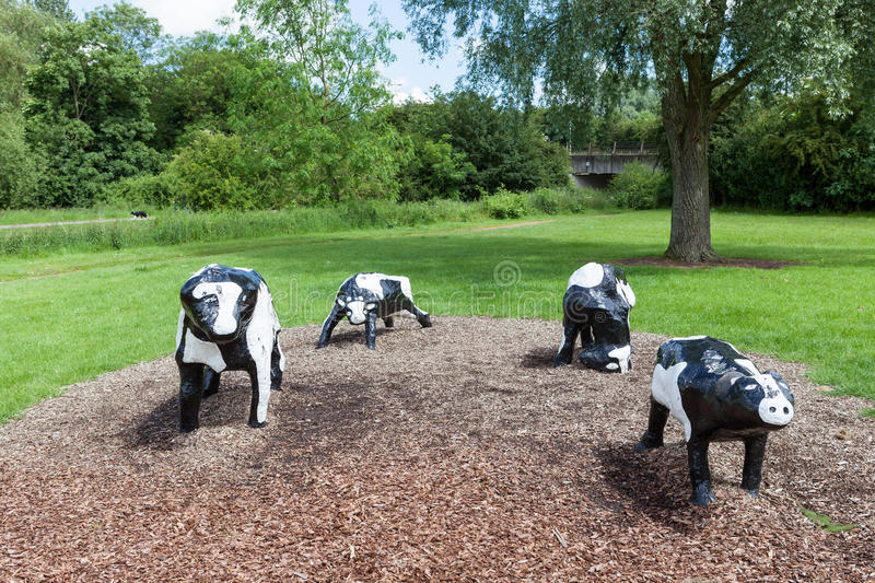 Infamous concrete cows in Milton Keynes. The Concrete Cows are Milton Keynes most famous inhabitants and have become unofficial mascots of the new town since royalty free stock photo