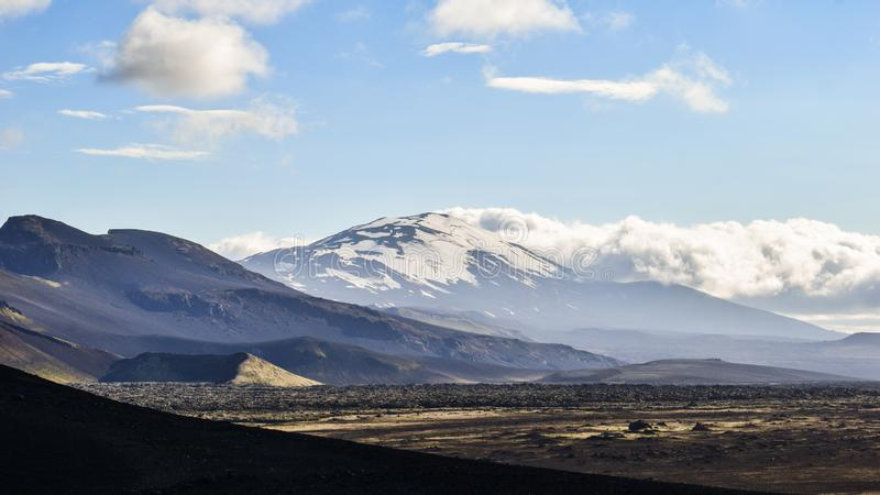 The infamous Hekla volcano, South Iceland stock images