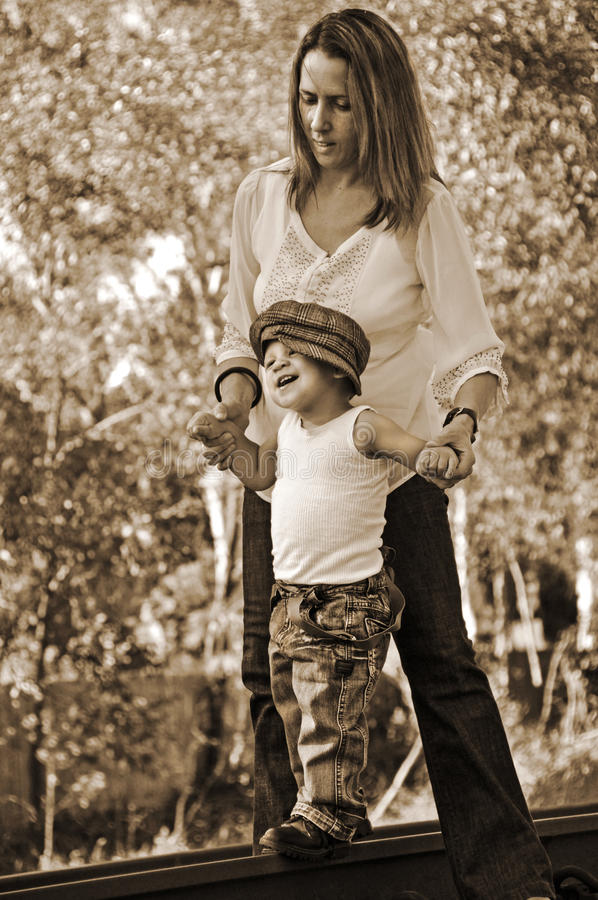 Infant Baby Boys First Steps Outdoors With Mother Stock Photography