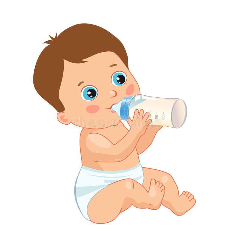 Infant Child Baby Toddler Sitting And Drinking From The Feeding Bottle. Cute Baby Boy Drinking Bottle. Vector Isolated On A White Background stock illustration
