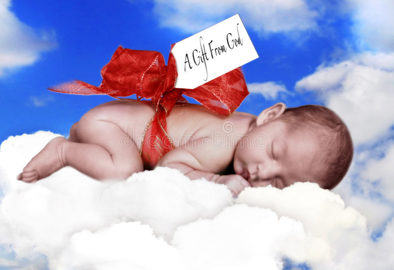 Download Infant Child On Pillow With Bow Stock Images - Image: 1411604
