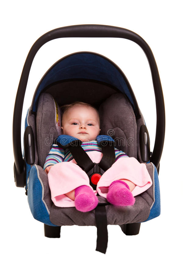 Infant Child Sitting In Car Seat Stock Photo