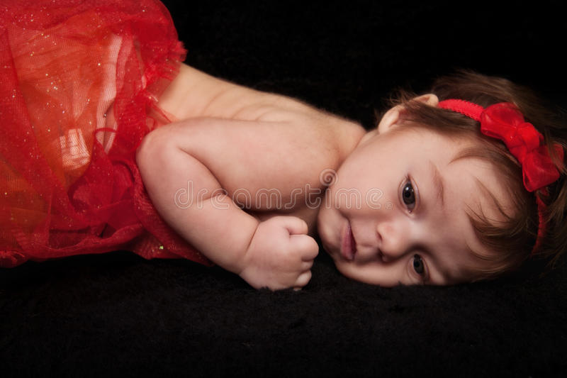 Infant Girl in Red royalty free stock photo