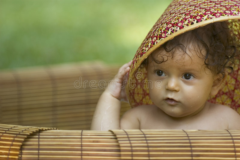 Infant and hat stock photos