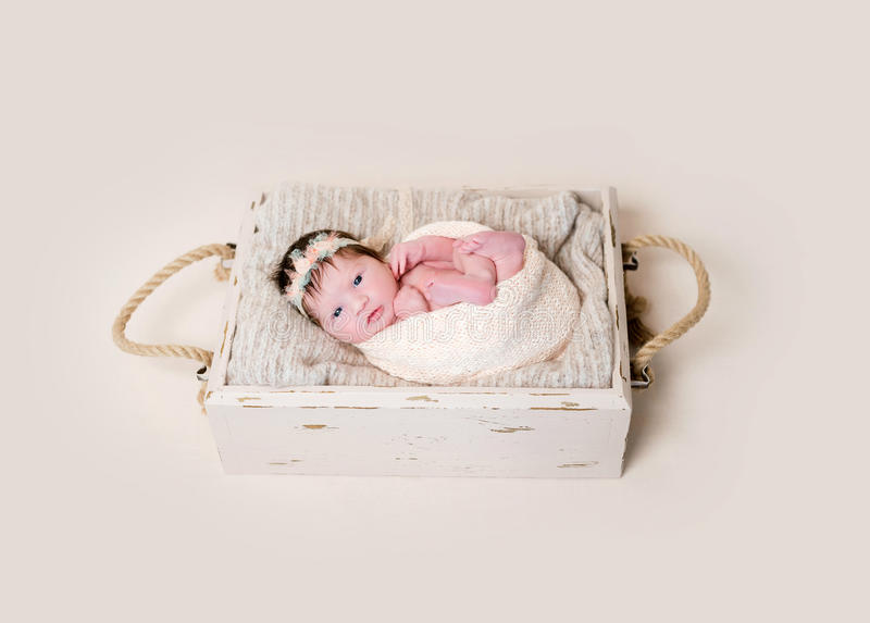 Infant with her eyes open widely royalty free stock photography