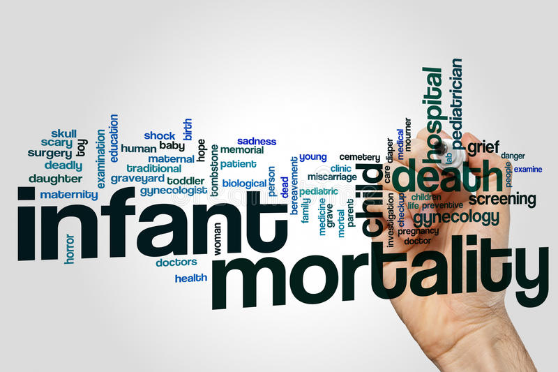 Infant mortality word cloud stock photography