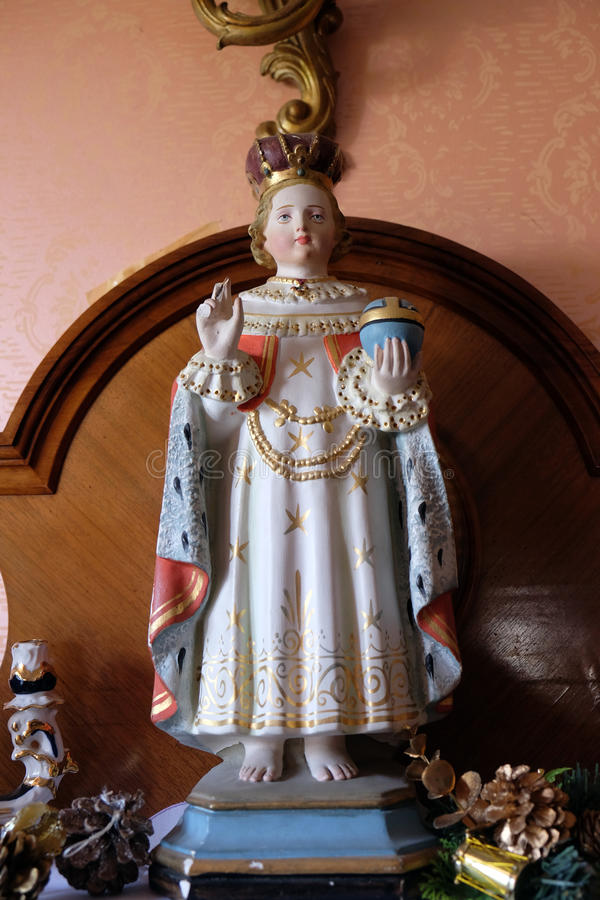 Infant of Prague. Statue of the Infant of Prague in the Rectory of Saint Francis Xavier in Vugrovec, Croatia stock photos