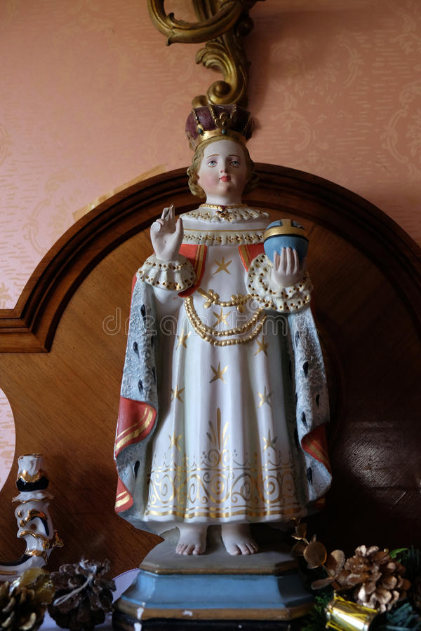 Infant of Prague. Statue of the Infant of Prague in the Rectory of Saint Francis Xavier in Vugrovec, Croatia royalty free stock photos