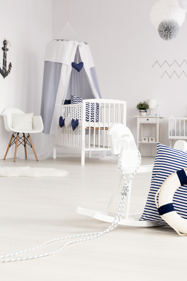 Infant room in coastal style royalty free stock photos