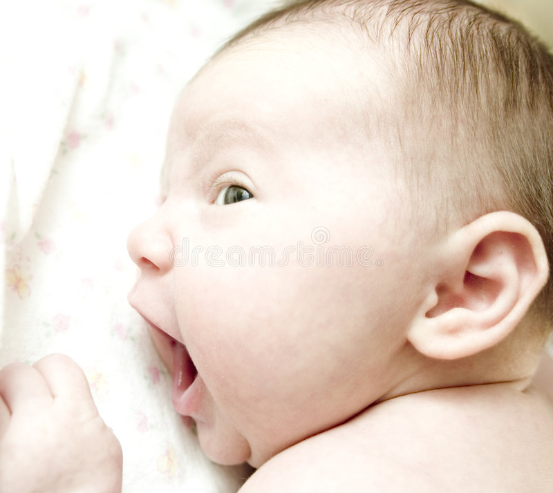 Infant's face stock photography