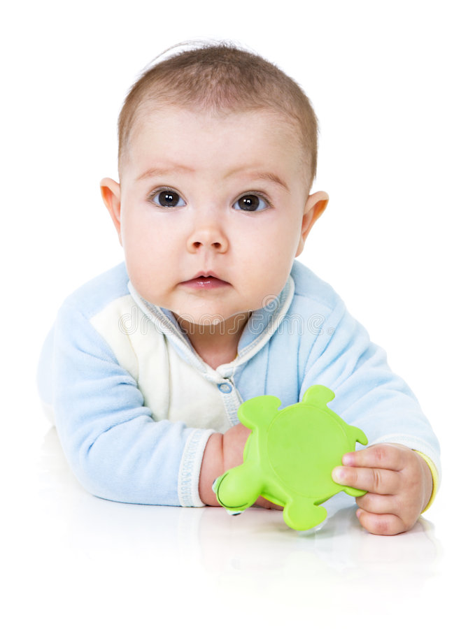 Infant with toy royalty free stock photos