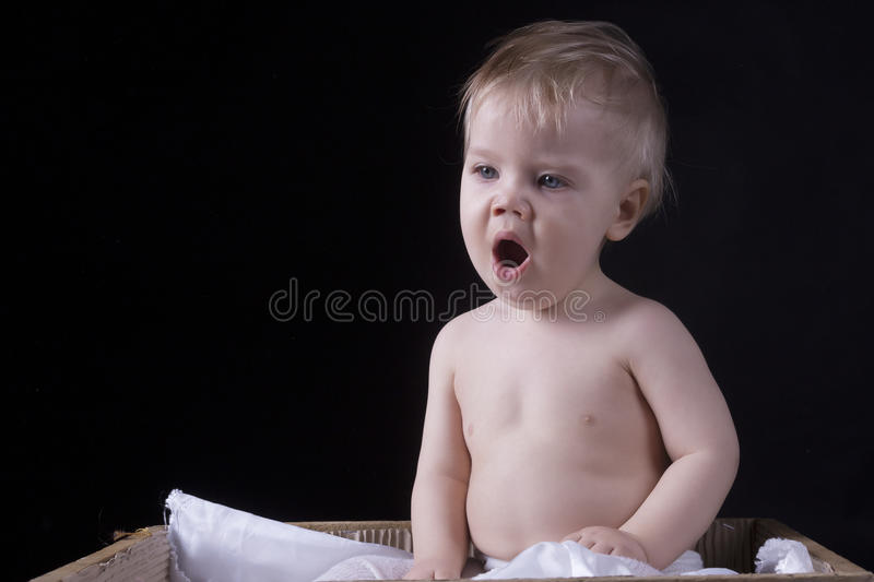 Infant is yawling on a black background stock photography
